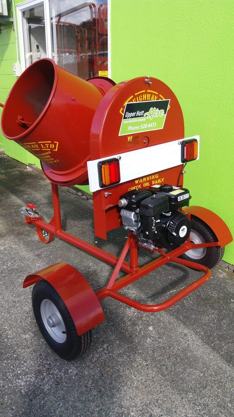 concrete cement mixer petrol trailer towable Upper Hutt Hire rent borrow