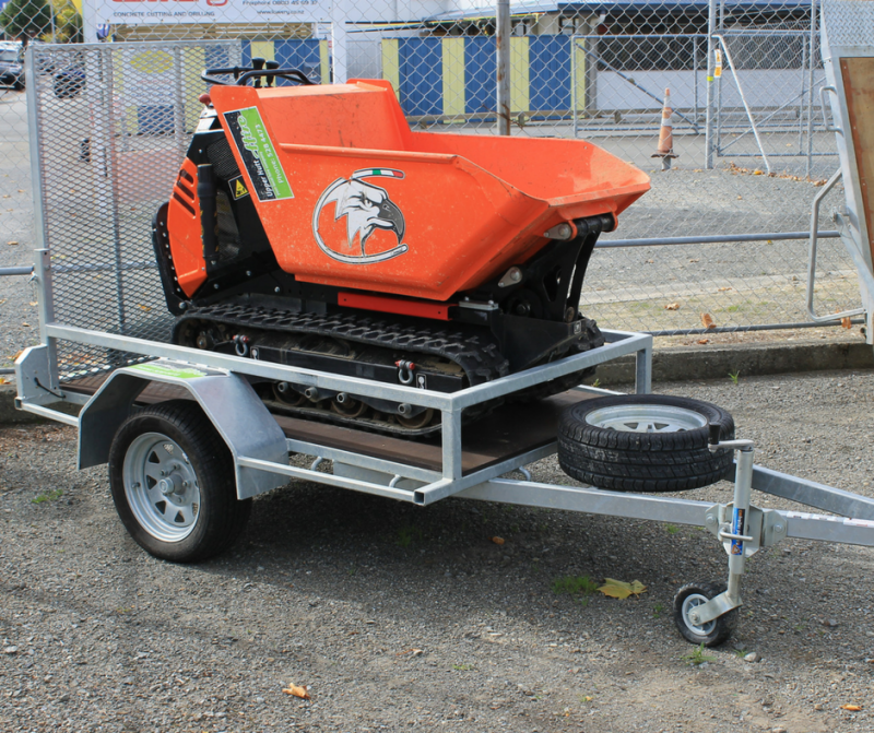 Motorised tracked barrow bucket dump truck Upper Hutt Hire rent borrow equipment DIY Dirt removal move